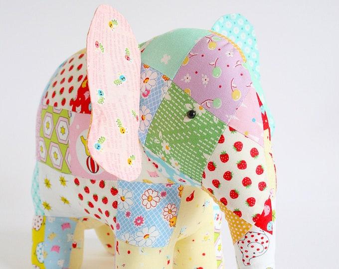 Elephant sewing pattern, elephant pattern, instant download, stuffed animal, stuffed toy pattern, patchwork elephant
