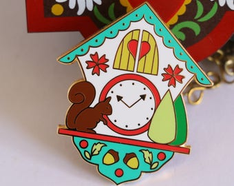 enamel pin, cuckoo clock enamel pin, hard enamel pin, kawaii enamel pin, enamel pin set, lapel pin, cute enamel pin, cuckoo clock, GREEN