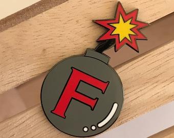 F bomb enamel pin, hard enamel pin, enamel pin set, sweary enamel pin, rude enamel pin, enamel lapel pin, crafty enamel pin