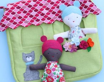 Doll House rag doll pattern pdf,plush doll, plush pdf pattern, fabric doll house,rag doll pdf,doll pdf, diy doll pattern, quiet book pattern