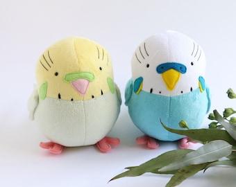 budgie bird sewing pattern, plush pattern, budgerigar,soft toy pattern, plush sewing pattern PDF, cockatoo, cockatiel, felt pattern