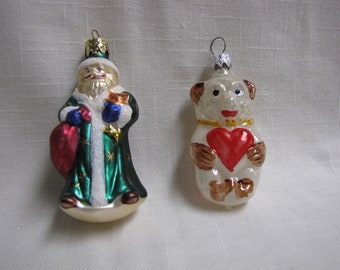 Vintage West Germany Ornaments, Old World Santa, Bear with Heart, Glitter, Mica, Holiday Decor, Glass Ornament,  gift idea
