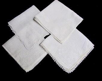 Vintage White on White Embroidered Hankies, four piece lot,  Flowers, Wedding, Madeira