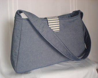 Large Denim  Shoulder bag, Multi purpose purse, shopper, handmade, blue and white ticking fabric