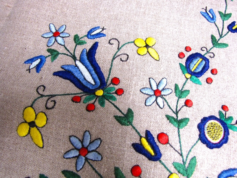 Scandinavian Table Topper Embroidered Tablecloth Small Satin Stitch Colorful Primary Colors Linen MCM Vintage Bright tablecloth