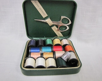 Vintage Belding Heminway Sewing Kit in Case, with Corticelli Thread, scissors, and Thimble, Travel Size