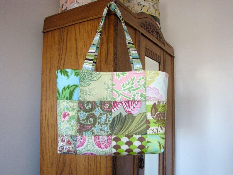 Gift Handmade blue green Patchwork tote bag Embroidered handbag Amy Butler Tote Bag Pink Quilted Bag Purse Large bag Shopper