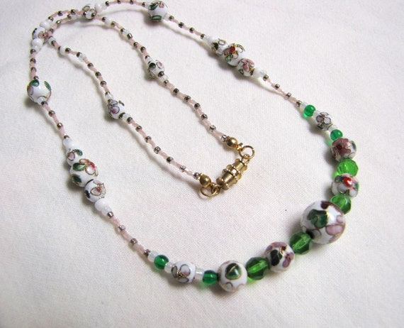 Italian marble and lamp work necklace and earring set.