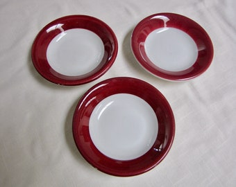 Tepco China Restaurant Ware Berry Bowls, Cafe dishes, Small Side bowls, Red and white Stripe, 1930's dining