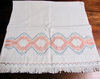 Vintage Cotton Swedish Embroidered Huck Kitchen towel, coral, aqua green