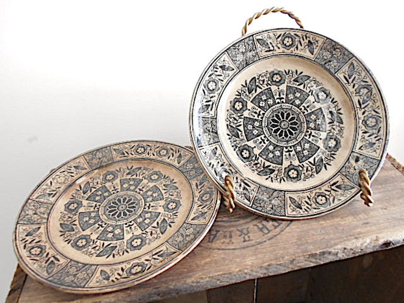EXCELSIOR pattern c1875 aged toned ecru SALE Pair Aesthetic black transferware plates cabinet  plate bread dessert plate wall decor