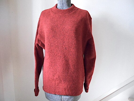 SALE LL Bean ragg wool pullover sweater muted vintage red  c5a295078d7