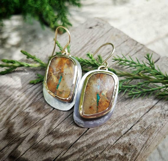 Royston Turquoise Dangle Sterling Silver Earrings, Boho Western Style Cowgirl Jewelry, OOAK, Art Jewelry