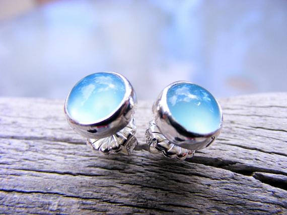 Blue Chalcedony Gemstone Studs - Blue Gemstone Post Stud Earrings - Large Blue Gemstone Studs