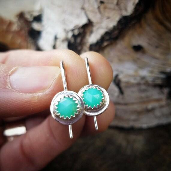 Chrysophrase Dangle Or Drop Sterling Silver Earrings - Mint Green Gemstone Jewelry - Boho Jewelry