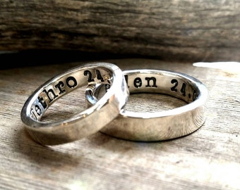 Sterling Silver Wedding Ring Band Set, Men, Womens, Couples Ring Set, Custom, Personalized, Engraved, Hand Stamped, Engagement Promise Ring