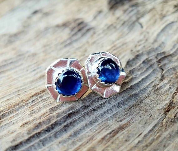 Big Blue sapphire stud post earrings,  Artisan Jewelry,  OOAK, Blue gemstone earrings, Wedding Bridal Jewelry