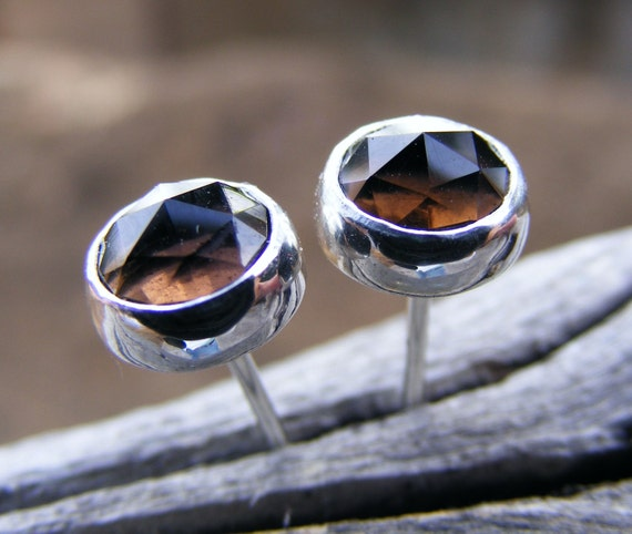Smokey Quartz Studs - Smoky Quartz Chocolate Brown Gemstone Post Earrings - Sterling Silver Or Solid Gold Option - Handcrafted
