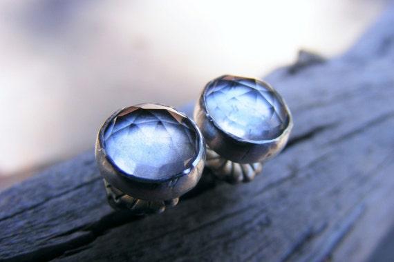 Crystal Quartz Sterling Silver Studs, Rose Cut Faceted Gemstone Post Earrings, Dangle Optional, Medium Size, Smokey Diamond Like, Oxidized