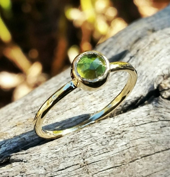 Peridot Gold Stacking Ring, Gemstone Birthstone Jewelry, Mother's Stackable Ring, Handcrafted By Helene's Dreams