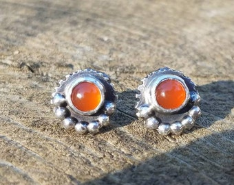 Carnelian Orange Gemstone Stud Post Sterling Silver Earrings. Artisan unique boho gypsy style earrings.