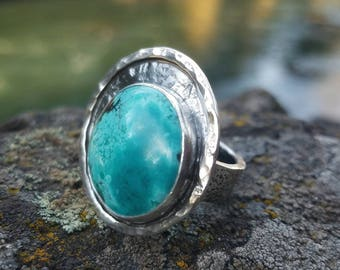 Blue Turquoise Sterling Silver Ring. OOAK Turquoise Statement Boho Country Western Chunky Style Ring SIZE 8.25