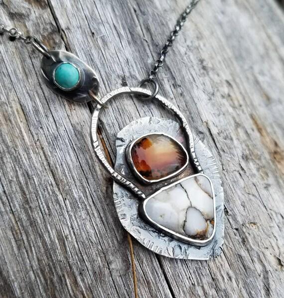 White Horse Turquoise and Onyx Gemstone Necklace OOAK, One of a Kind, Artisan Jewelry, Mixed Gemstone, Statement Art Pendant, Cowgirl Boho