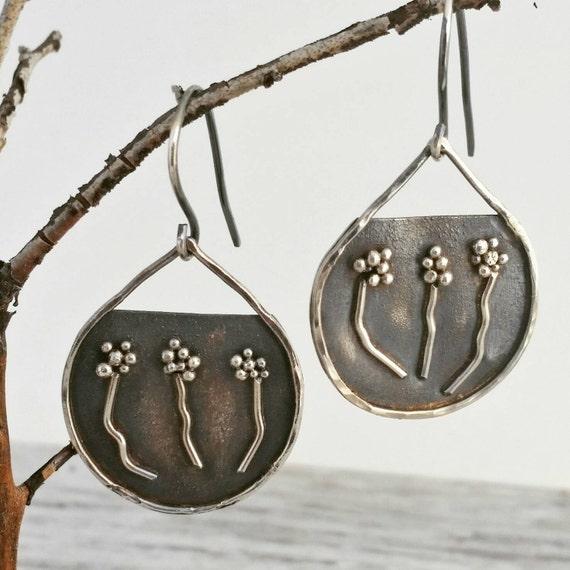 Botanical Floral Earrings, Sterling Silver Dangle Earrings, Art Jewelry, One of a Kind, Unique, Nature Lover, OOAK, Helenes Dreams