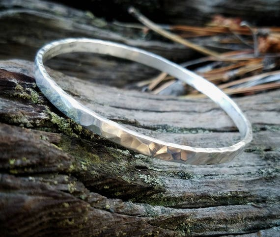 Sterling Silver Hammered Bangle Bracelet, Thick and Sturdy Recycled Sterling Silver Handmade Bracelet