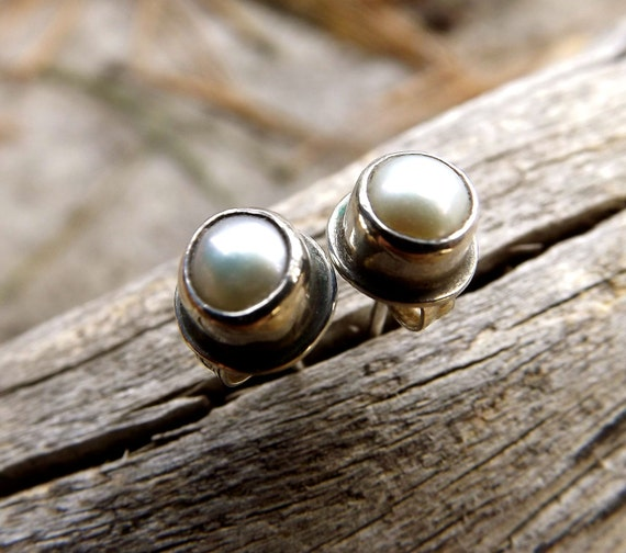 Pearl Sterling Silver Studs, Pearl Post Earrings Set In Recycled Oxidized Sterling Silver, Wedding Bridal Jewelry