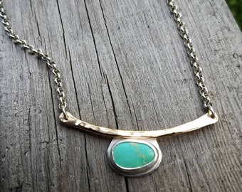 Turquoise Gold Bar Collar Bone Custom Length Layoring Necklace, Mixed metal, Sterling Silver and 14kt Goldfilled metals. Minimalist.