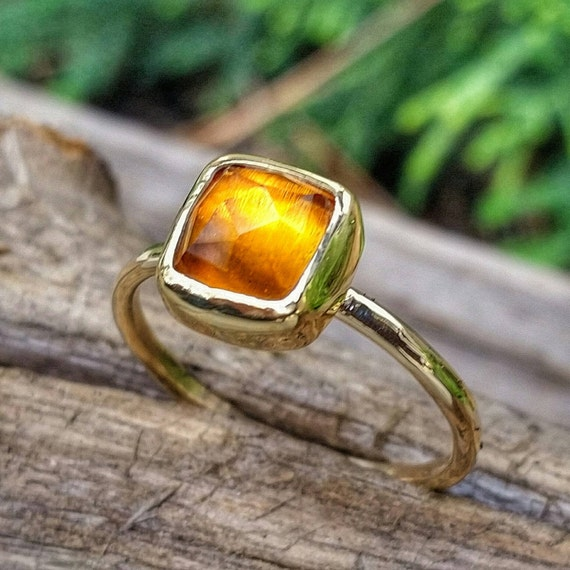 Solid Gold Citrine Stacking Ring with Rose Cut Citrine Gemstone, November Birthstone Ring, Yellow Gemstone Jewelry, also in Sterling Silver