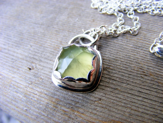 Green Prehnite Necklace, Sterling Silver Green Gemstone Pendant, Similar To Green Amethyst, Boho Cowgirl Jewelry Style