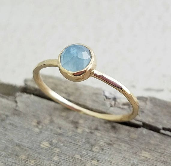 14k Gold Aquamarine Gemstone Ring March Birthstone Stacking Ring - Mother's Ring - Simple Minimalist