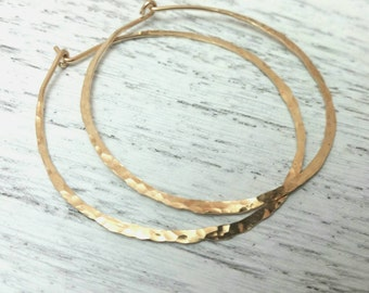 Gold Hoops, Skinny, Slim, Thin Hammered Hoop, Simple Light Everyday Wear 14kt Gold Filled Or Solid 14kt Gold Hoops- 2 Or 1.5 Inch