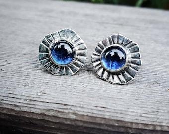 Blue sapphire studs.  Sapphire post earrings,  Artisan Jewelry,  OOAK, Blue gemstone earrings, Wedding Bridal Jewelry