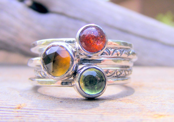 Gemstone Sterling Silver Stacking Rings, Whiskey Quartz, Sunstone, Peridot, Birthstone Ring, Mothers Ring, Handcrafted by Helene's Dreams