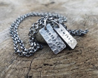 Fathers Necklace - Men's Dog Tag necklace. Rustic hammered organic oxidized custom hand engraved personalized men's jewelry.