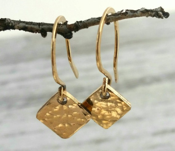 Gold Filled Simple Minimalist Dangle Drop Earrings, Small Gold Earrings, Hammered Texture Gold Earrings
