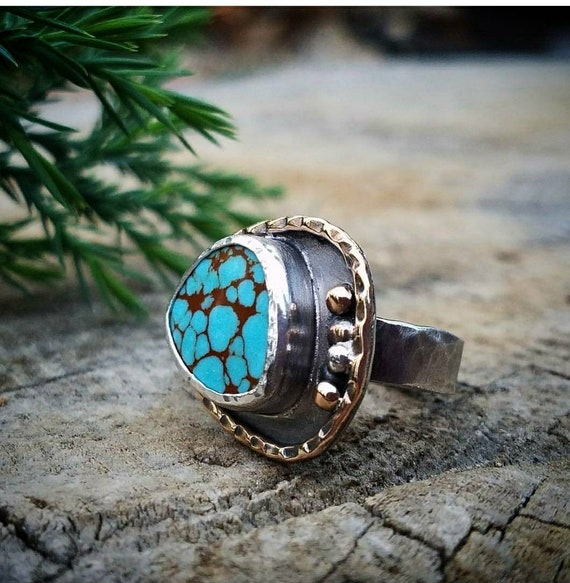 Turquoise Silver and Gold Ring. #8 mine turquoise gemstone set in mixed metals.  Size 6.