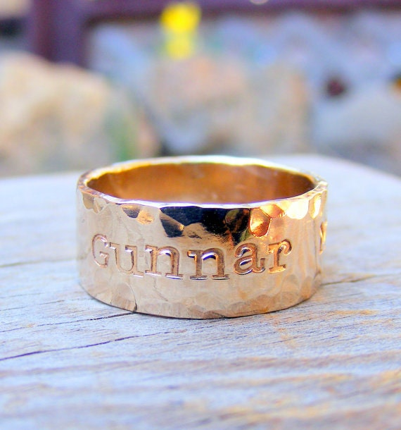 Wide Gold Ring - Gold Duck Band- Personalized Custom Engraved- Men Wedding Engagement Unisex Jewelry, Gold Filled , 14kt Rose Or Yellow Gold