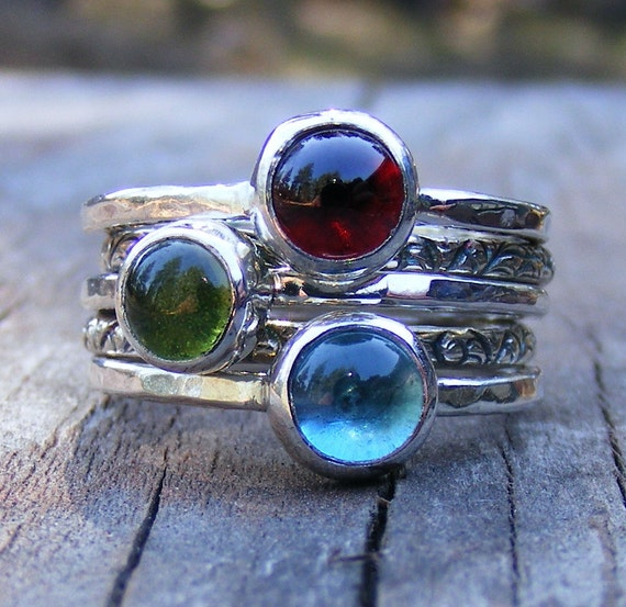 Mothers Birthstone Stacking Rings - Garnet, London Blue Topaz And Peridot Gemstones In Recycled Sterling Silver -  Mother's Day Gift Ring