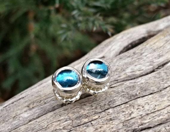London Blue Topaz Stud Earrings In Sterling Silver - December Birthstone Jewelry