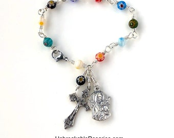 Virgin Mary Perpetual Help Rosary Bracelet in Rainbow Millefiori Beads Wire Wrapped by Unbreakable Rosaries