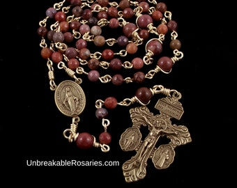 Bronze Miraculous Medal Rosary Beads in Portuguese Agate with 3-Way Italian Pardon Crucifix by Unbreakable Rosaries
