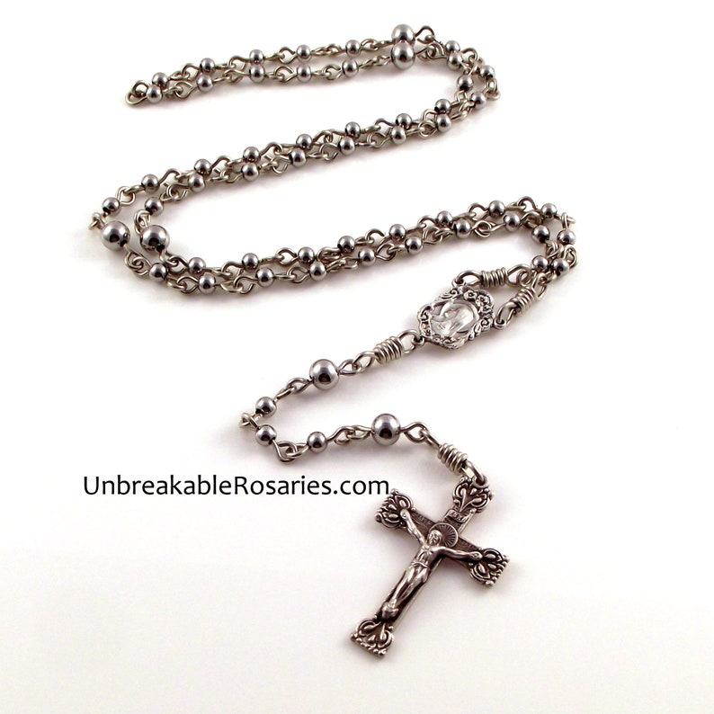 Virgin Mary Sacred Heart of Jesus Rosary Beads Stainless Steel image 0