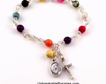 Rosary Bracelet Italian Saints Joseph and Anthony Rainbow Magnesite Wire Wrapped by Unbreakable Rosaries