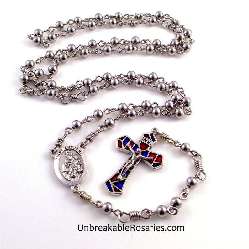 Stainless Steel Saint Anthony Rosary Beads with Stained Glass image 0