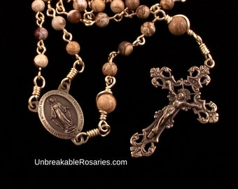 Bronze Miraculous Medal Rosary Beads in Brown Picture Jasper w Italian Medals by Unbreakable Rosaries