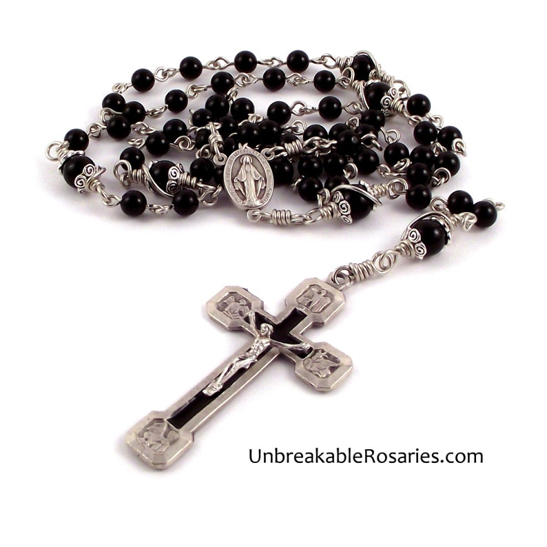 Miraculous Medal Rosary Beads w Stations of The Cross Crucifix image 0
